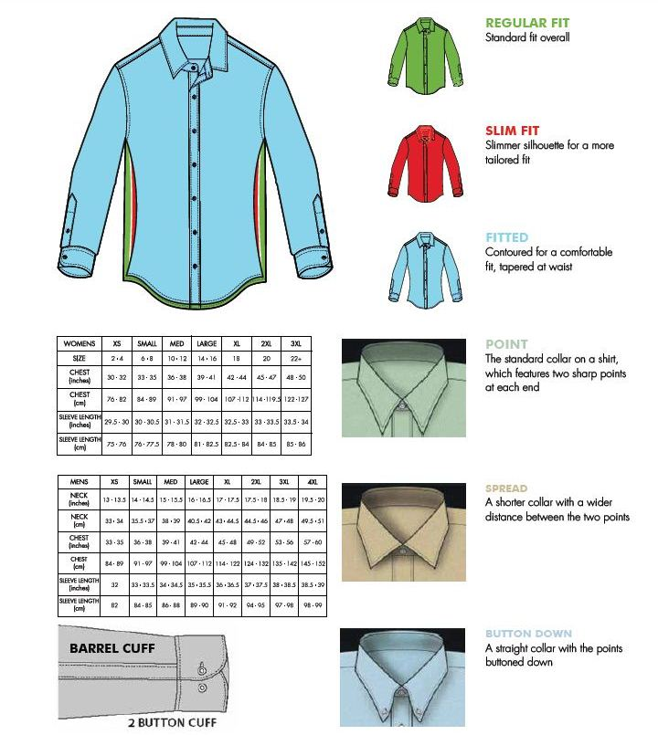 Van Heusen and Eagle General Size Chart
