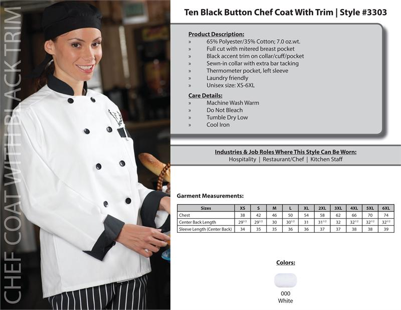 Edwards Classic Full Cut Chef Coat, 10 black buttons - 3303