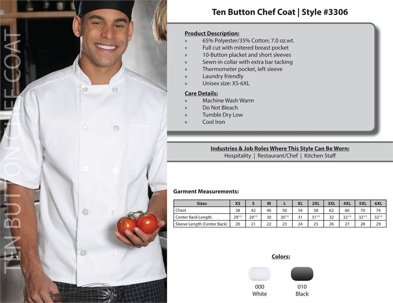 Edwards Classic Full Cut Short Sleeve Chef Coat, 10 button - 3306