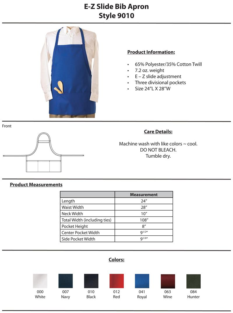 Edwards E-Z Slide Bib Apron with Three Pockets - 9010