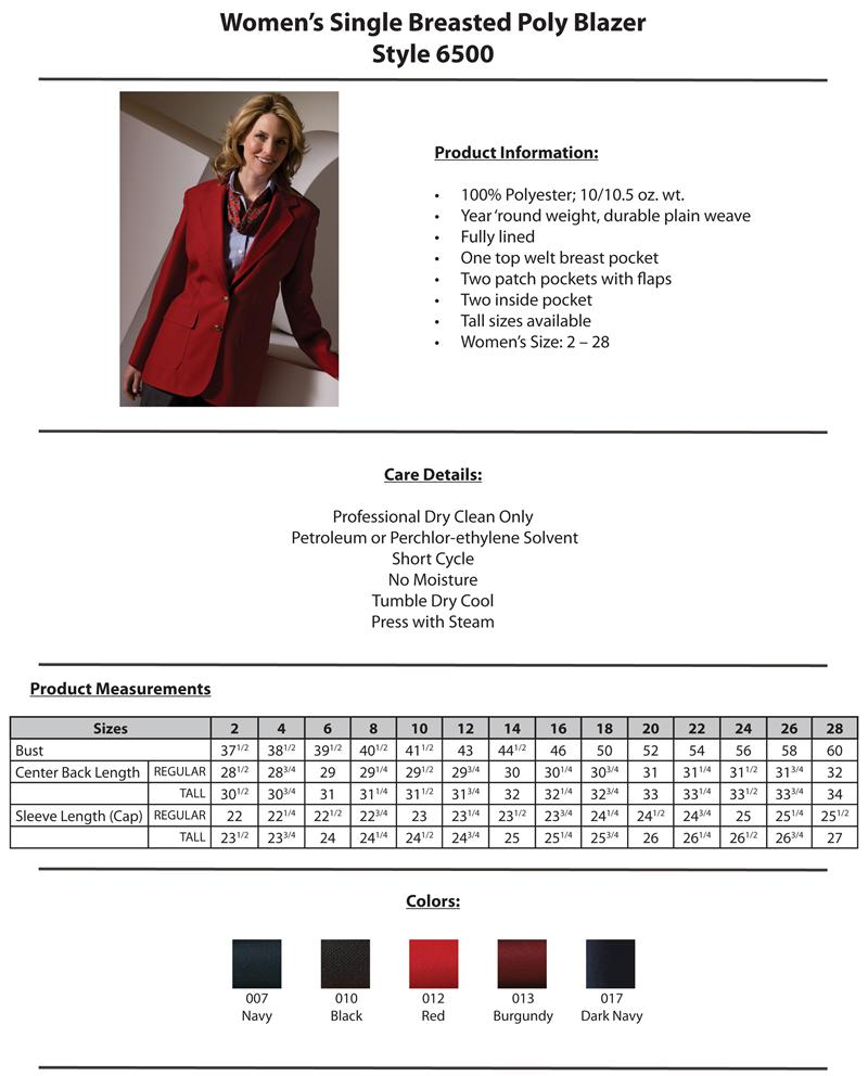 Womens Uniform Blazers - Edwards Womens Value Blazer 6500