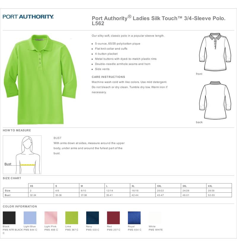 Port Authority L562 Ladies Silk Touch 3/4 Length Sleeve Polo Shirts