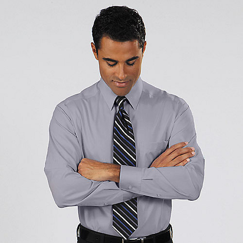 Mens white herringbone dress shirt