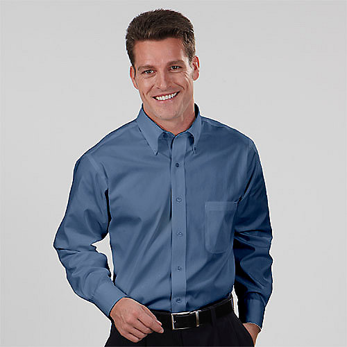 Van Heusen Dress Shirts 13V0031 - Mens Blended Pinpoint Oxford LS ...