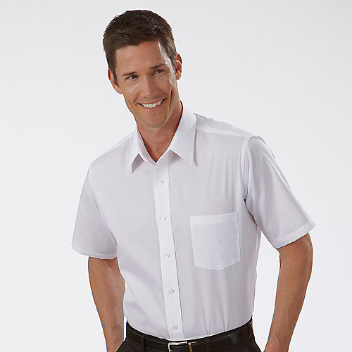 Van heusen mens white broadcloth short sleeve dress shirts for Mens short sleve dress shirts