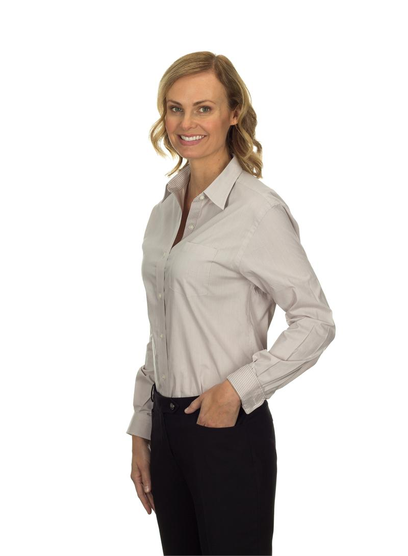 13V0236 Van Heusen Womens Long Sleeve Feather Stripe With Contrast ...