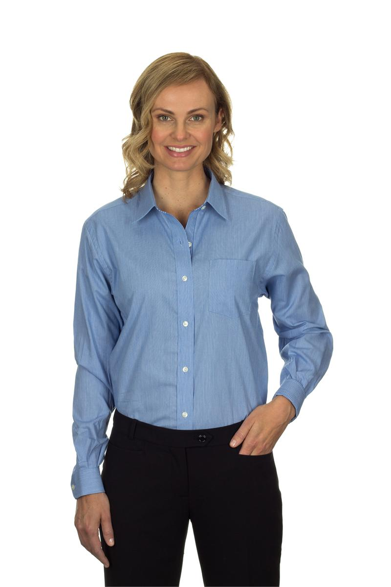 13v0236 Van Heusen Womens Long Sleeve Feather Stripe With Contrast
