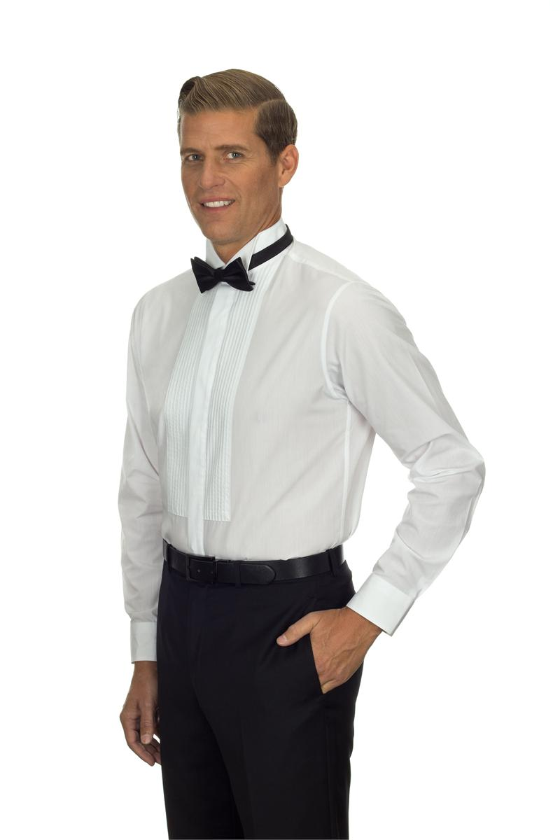13v0376 Van Heusen Tuxedo Shirts Mens Wing Collar Formal
