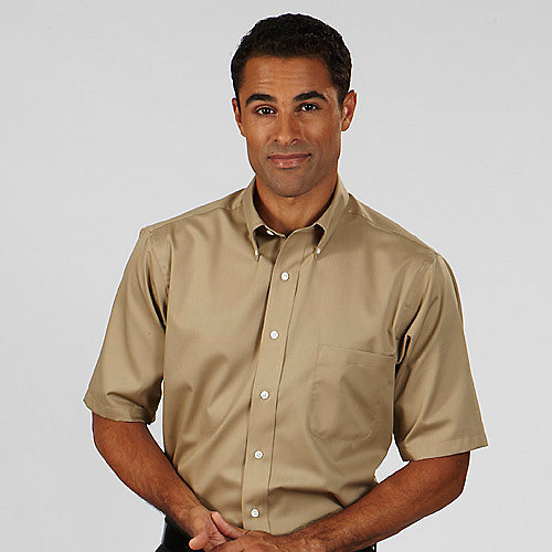 White dress shirt and brown khakis