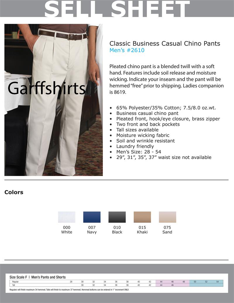 53e3c3ae Edwards Mens Pleated Chino Blended Twill 7.5-8.0 oz Pants - 2610