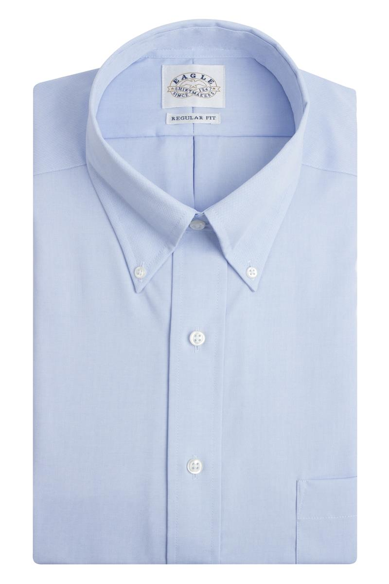 Eagle non iron regular fit pinpoint solid button down for White non iron dress shirts