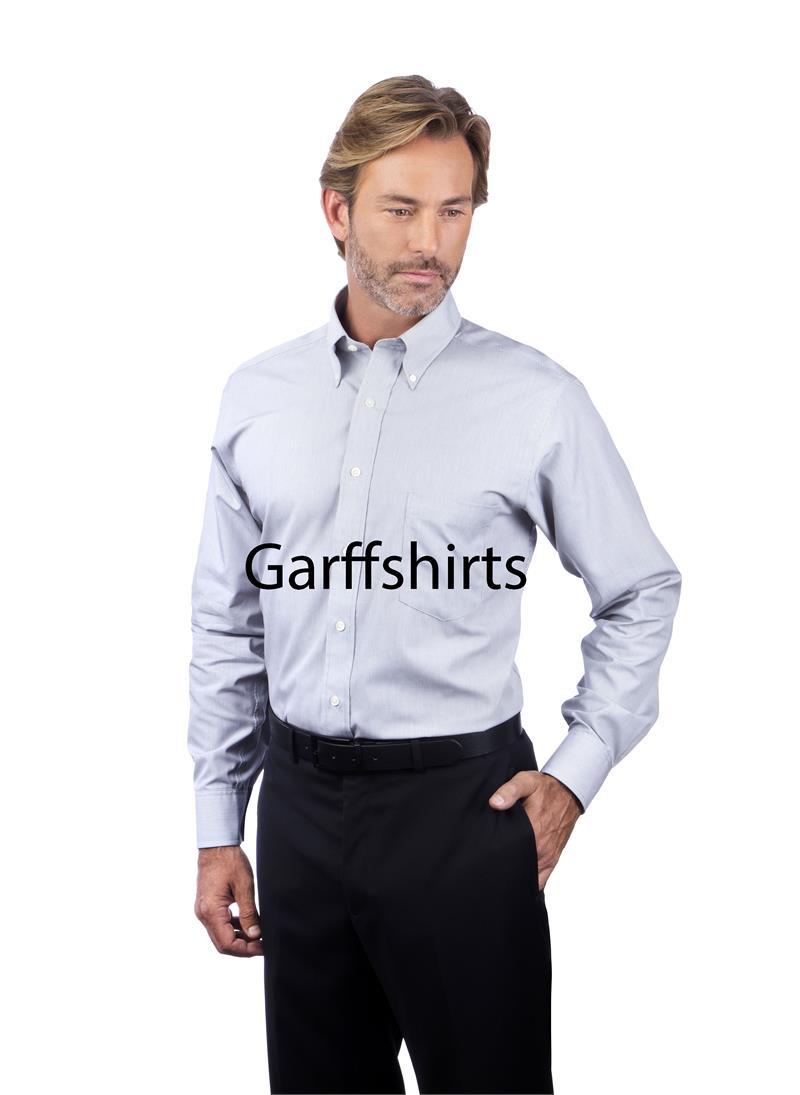 Mens van heusen non iron feather stripe long sleeve dress for Men s no iron dress shirts