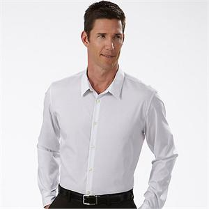 White w Black Stripe 13CK020 Calvin Klein Fitted Pinstripe Dress Shirts