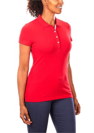 Apple Red Tommy Hilfiger 13H4534 Womens Pique Polo Shirts