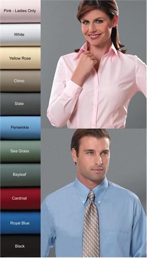 Van Heusen Mens and Womens Silky Poplin Long Sleeve Dress Shirts