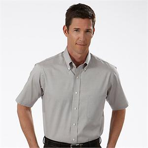 Grey - 13V0205 Van Heusen Mens Pinpoint Short Sleeve Dress Shirts