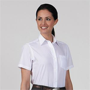 White Van Heusen Womens Broadcloth Short Sleeve Dress Shirts - Alpha Sized