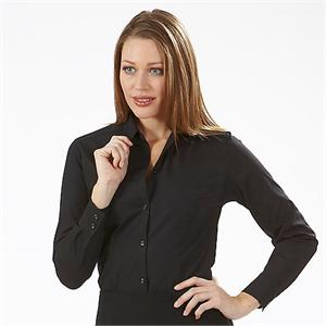 Black - Van Heusen Womens Broadcloth Long Sleeve Dress Shirts - Alpha Sized