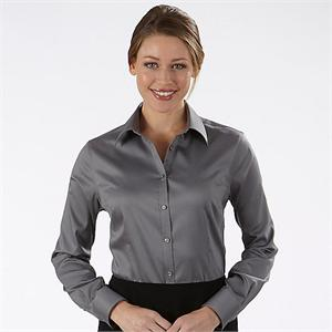 Charcoal - Van Heusen Ladies Sateen Long Sleeve Dress Shirts