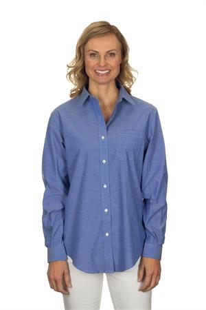 Deep Blue Van Heusen Womens Long Sleeve Pinpoint Stretch Dress Shirts