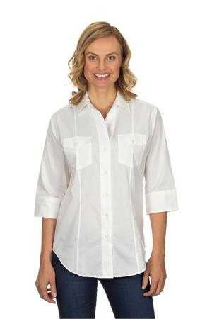 White Van Heusen 13V0367 Womens 3-4 Sleeve Pinpoint Stretch Blouses
