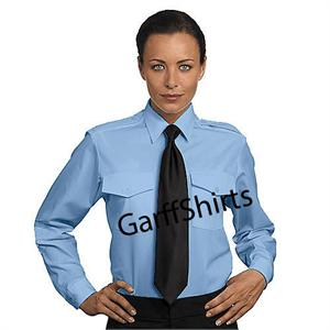 Pilot Shirts - Womens-Ladies Van Heusen BLUE The Aviator LONG SLEEVE BLUE Pilot Uniform Shirts aaron richman
