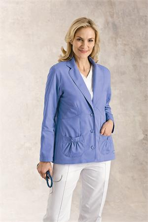 Landau 7733 Landau 7733 LABCOAT W/THREE BUTTONS AND SHIRRED POCKETS
