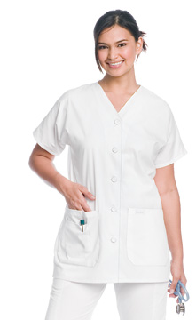 Landau Scrubs 8265 Landau 8265 V-Neck Front Button Tunic