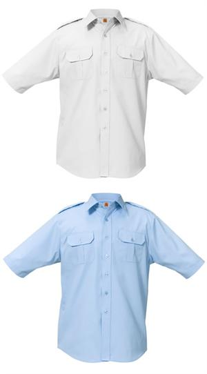 Blue & White Short Sleeve Aviator Pilot Uniform Shirts - A+ by SAI, aaron richman
