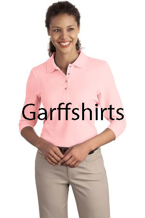 abb3361a Light Pink - Port Authority Ladies Silk Touch 3/4 Sleeve Polo Shirts - L562  ...