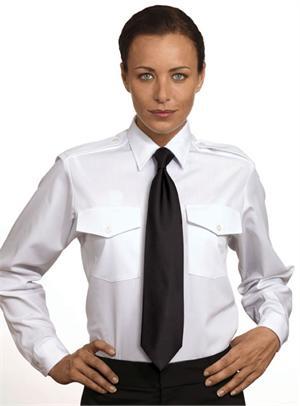 Womens-Ladies Van Heusen The Aviator LONG SLEEVE White Pilot Uniform Shirts