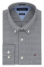 Deep Knit Black Tommy Hilfiger Mens Cotton Gingham Dress Shirts 13H1863