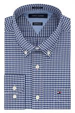 Surf The Web Blue Tommy Hilfiger Mens Cotton Gingham Dress Shirts 13H1863