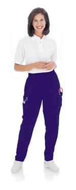 Landau Scrubs 8501 Womens Cargo Elastic Waist Scrubs Pant - Grape