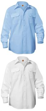 Blue & White Long Sleeve Pilot Shirts - Aviator Pilot Uniform Shirts - A+ by SAI