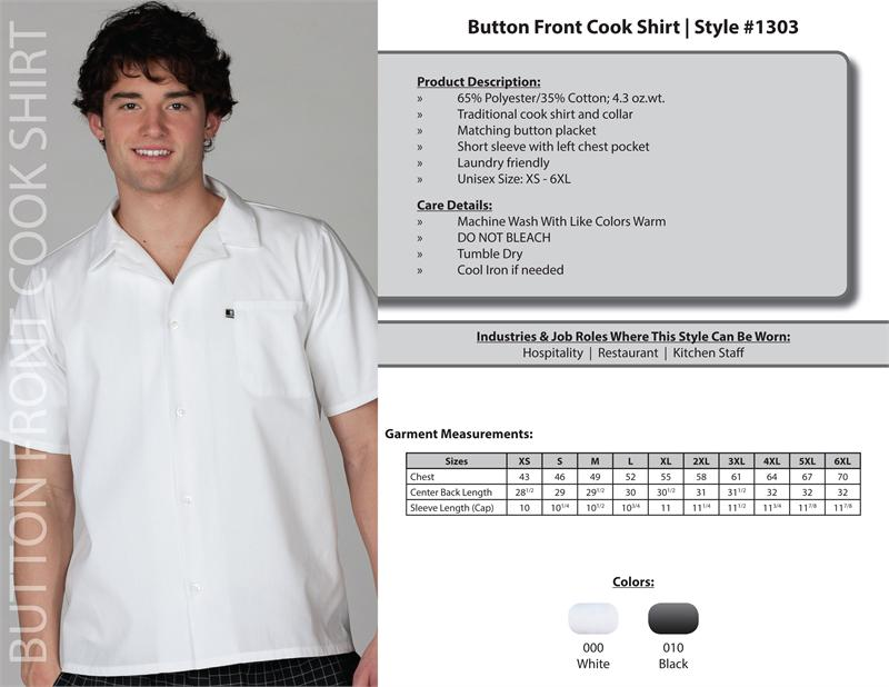 Edwards Short Sleeve Unisex Cook Shirts, Button Plackets - 1303