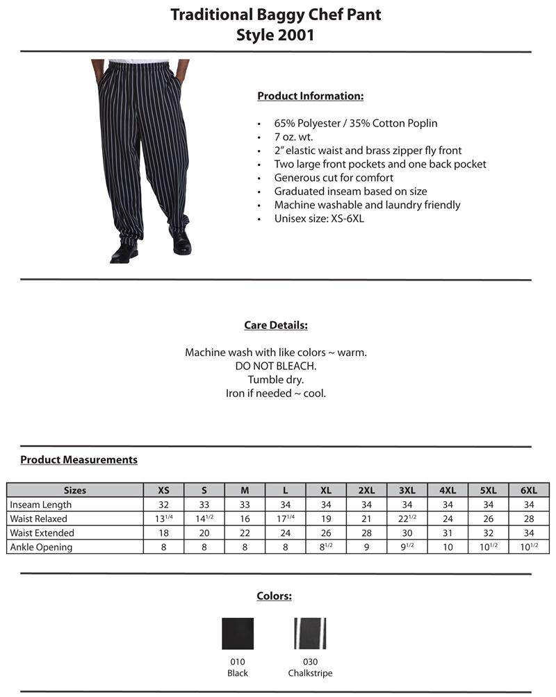 Edwards Traditional Baggy Chef Pants - 2001