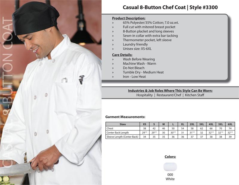 Edwards Casual Full Cut Unisex Chef Coat, 8 Button - 3300