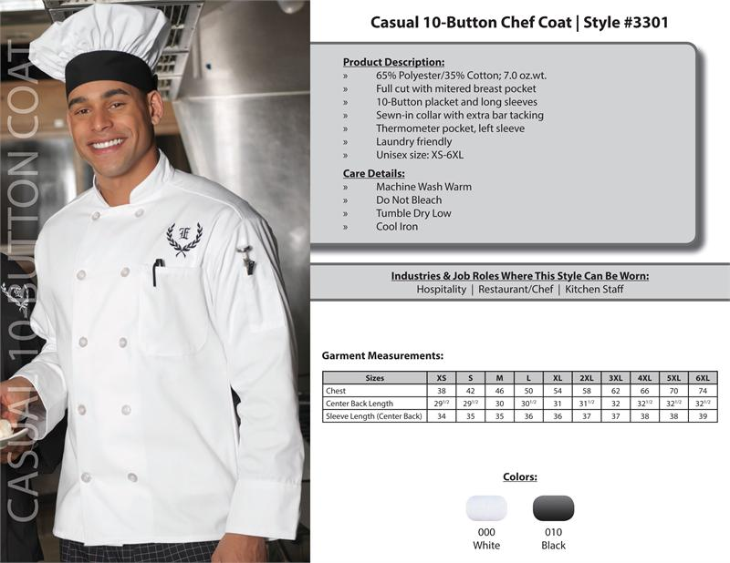 Edwards Classic Full Cut Unisex Chef Coat, 10 Buttons - 3301
