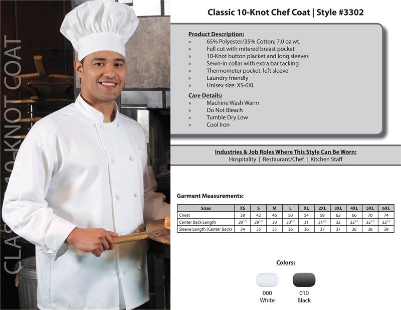Edwards Classic Full Cut Unisex Chef Coat, 10 Knot Buttons - 3302