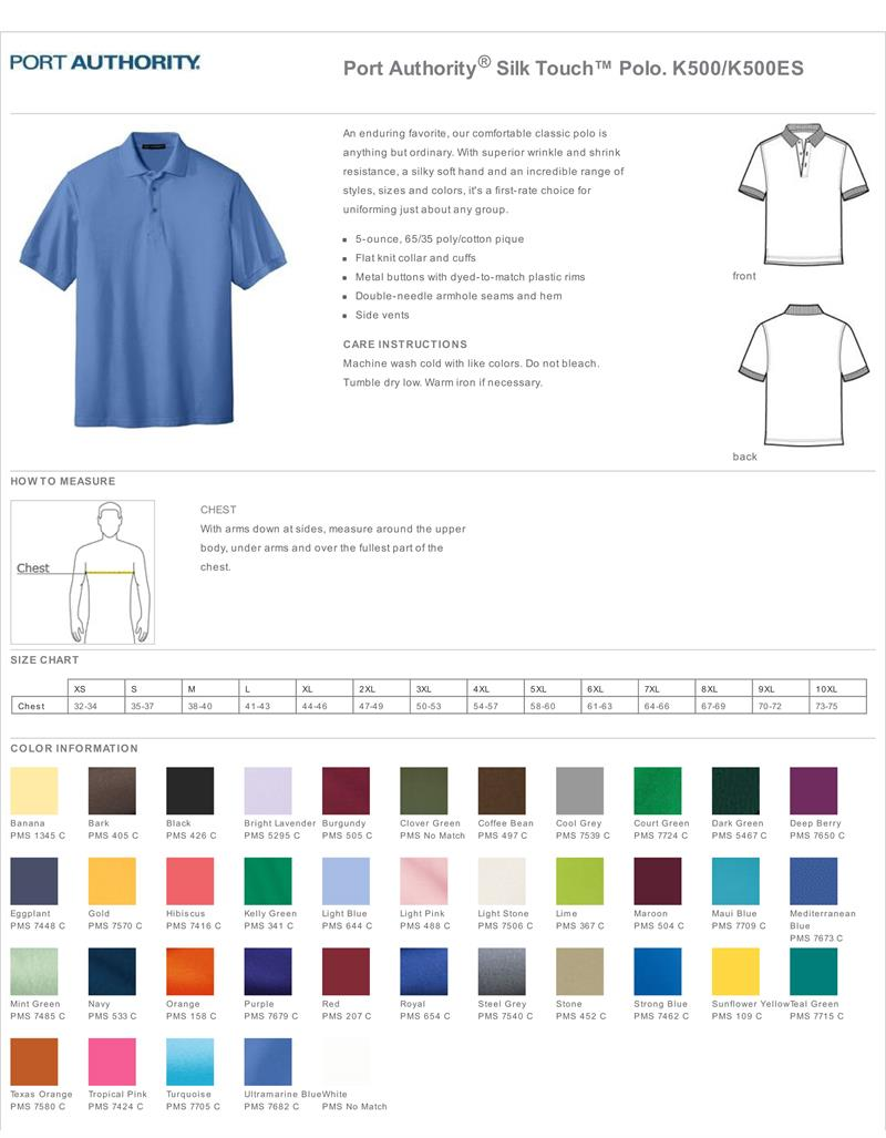 Port Authority Mens Silk Touch Polo Shirts - Port Authority K500