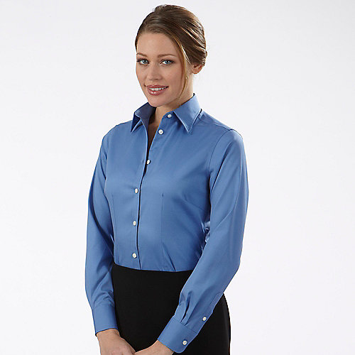 Van heusen non iron dress shirts 13v0144 womens non iron for Fitted white dress shirt womens
