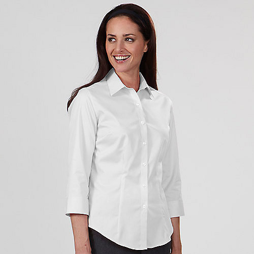 Van heusen twill dress shirts 13v0527 womens 3 4 length for White non iron dress shirts