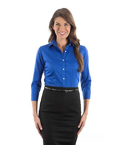 Van Heusen Twill Dress Shirts 13v0527 Womens 3 4 Length