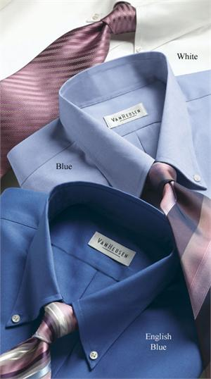 Van Heusen 13V0031 - Mens Blended Pinpoint Oxford L/S Button Down Collar Dress Shirts