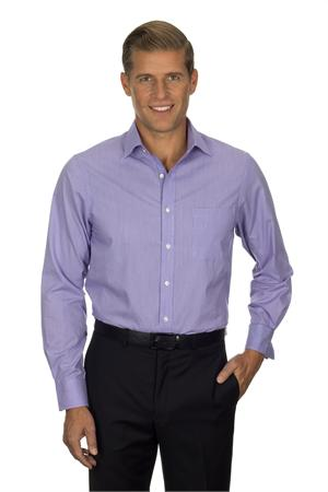 Purple Van Heusen Men Long Sleeve Feather Stripe With Contrast Dress Shirts