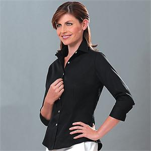 Black - Van Heusen 13V0527 Womens 3/4 length Dress Twill Dress Shirts