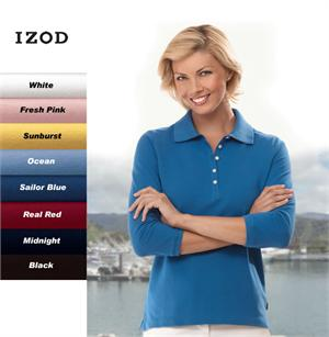13Z0083 IZOD Ladies-Womens 3/4 Sleeve Silkwash Stretch Pique Polos
